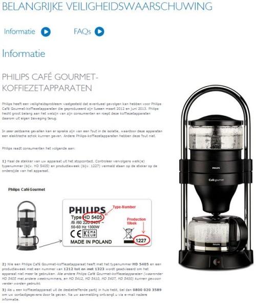 terughaalactie philips caf gourmet koffiezetapparaten. Black Bedroom Furniture Sets. Home Design Ideas
