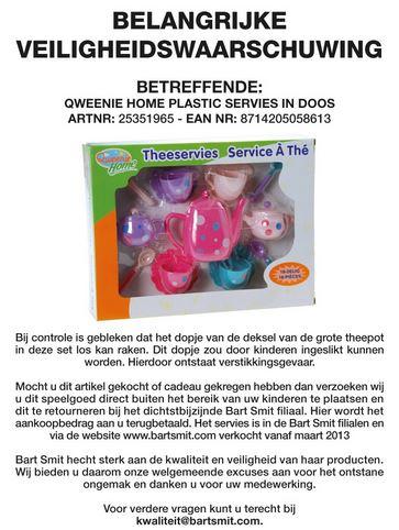 Terughaalactie Qweenie Home Bart Smit Plastic Theeservies