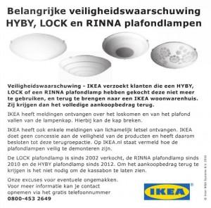Terughaalactie IKEA plafondlampen LOCK, RINNA en HYBY