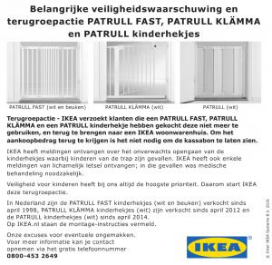 Terughaalactie IKEA kinderhekjes Patrull