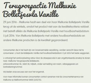 Terughaalactie Melkunie Bolletjesvla Vanille