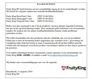 Productwaarschuwing Fruity King sappen