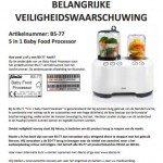 Terughaalactie Alecto Baby Food Processor BS-77