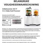 Terughaalactie Alecto Baby Food Processor BS-77