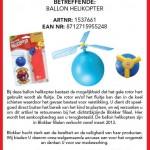 Terughaalactie Blokker Ballon Helikopter