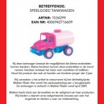 Terughaalactie Blokker speelgoed tankwagen