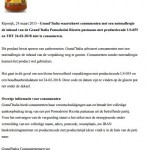 Allergiewaarschuwing Grand'Italia Pomodorini Ricotta pastasaus