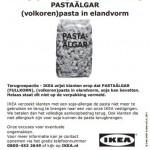 Allergiewaarschuwing IKEA pasta in elandvorm