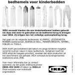 Terughaalactie IKEA bedhemels voor kinderbedden