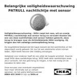 Terughaalactie IKEA Nachtlichtje met sensor 'Patrull'