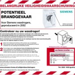 Veiligheidswaarschuwing Siemens wasdrogers