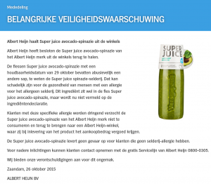 Allergiewaarschuwing H Super Juice Avocado-Spinazie