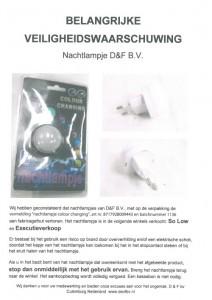 Terughaalactie D&F nachtlampje