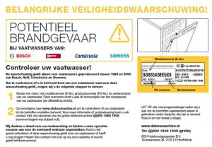 Veiligheidswaarschuwing vaatwassers