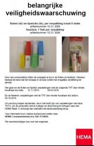 Terughaalactie HEMA snoep fluit en lipstick