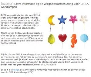 Veiligheidswaarschuwing IKEA nachtlamp SMILA