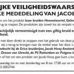 Terughaalactie Jacob Hooy kruidenthee