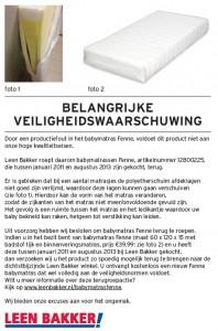 Terughaalactie Leen Bakker babymatras Fenne