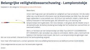 Veiligheidswaarschuwing lampionstokje met licht Action