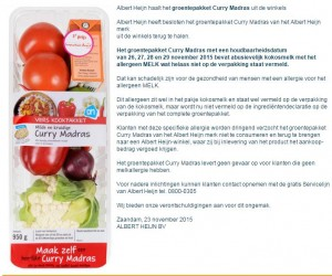 Allergiewaarschuwing AH Curry Madras Verspakket