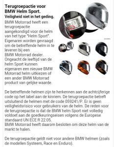 Terughaalactie BMW Motorrad helm Sport