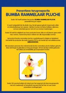 Terughaalactie Bumba pluche rammelaar