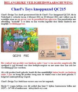 Terughaalactie Charl's Toys knoppuzzel