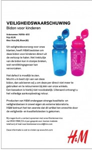 Terughaalactie H&M kinderbidon