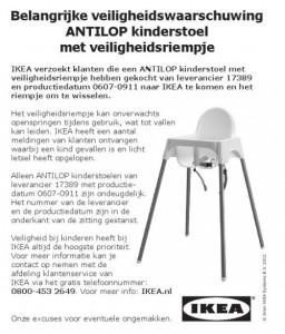 Veiligheidswaarschuwing IKEA ANTILOP kinderstoel