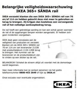 Terughaalactie IKEA 365+ SÄNDA verlichtingsrail