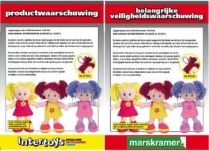 Veiligheidswaarschuwing Marskramer en Intertoys lappenpop