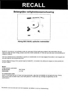 Terughaalactie König rookmelder