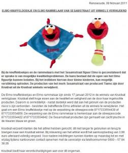 Terughaalactie knuffeldoek en rammelaar Elmo door Kruidvat