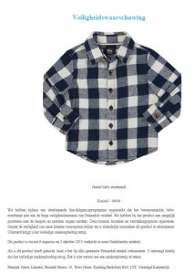 Veiligheidswaarschuwing Primark Kimball geruit baby-overhemd