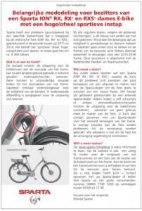 Veiligheidswaarschuwing Sparta ION RX, RX+ en RXS dames E-Bike