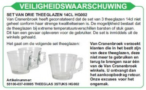 Terughaalactie theeglazen Van Cranenbroek