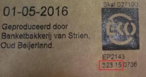 Allergiewaarschuwing koekjes Van Strien (locatie productiecode)