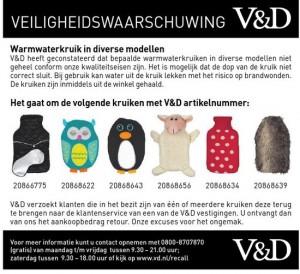 Terughaalactie V&D warmwaterkruiken