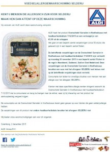 Allergiewaarschuwing ALDI Ovenschotel Garnaal in knoflooksaus