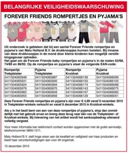 Terughaalactie Forever Friends rompertjes en pyjama's (Kruidvat en Trekpleister)