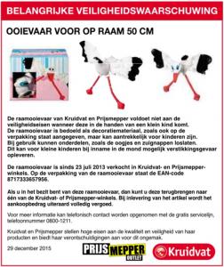Veiligheidswaarschuwing raamooievaar Kruidvat en Prijsmepper (advertentie)
