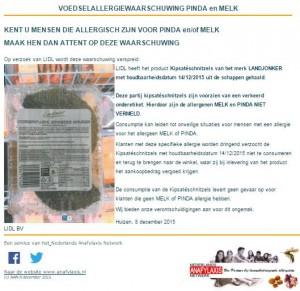 Allergiewaarschuwing Landjonker kipsatéschnitzels (Lidl)