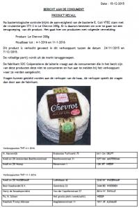 Terughaalactie Le Chevrot kaas