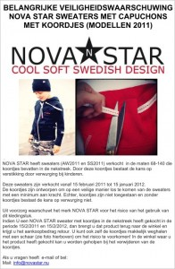Veiligheidswaarschuwing Nova Star sweaters