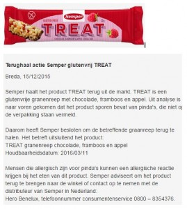 Allergiewaarschuwing Semper Treat