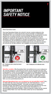 Veiligheidswaarschuwing Specialized fietsen met snelspanners