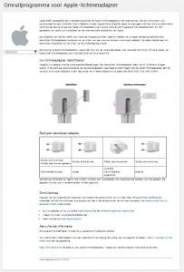 Terughaalactie Apple lichtnetadapters