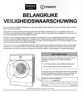 Veiligheidswaarschuwing Hotpoint-Ariston en Indesit wasdrogers (herhaling)