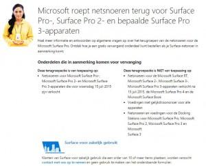 Terughaalactie Microsoft Surface netsnoeren