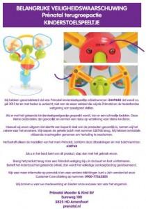 Terughaalactie Prénatal kinderstoelspeeltje